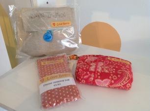 Handmade washbag £6.50, glasses case £3.50, Purse £4.50
