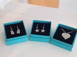 Pewter engine house earrings £14.40, Star earrings £12.75, Heart necklace £15.25