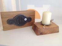 Oak cast iron GWR plaque £15, Oak candle £7.50