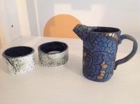 Ceramic tea lights £5 each, ceramic hand built jug £20