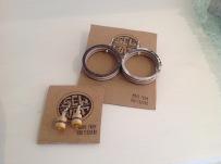 Upcycled Skateboard bead earrings £5, large circle earrings £6