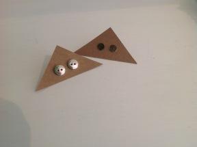 Button stud earrings £30, brass circle earrings £10
