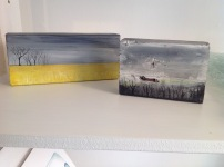 Hand painted scenes on wood from £10
