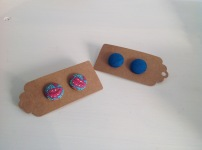 Fabric covered button earrings £5