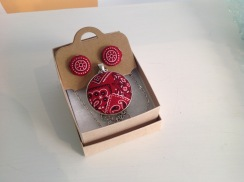 Fabric cover button earrings and pendant set £15