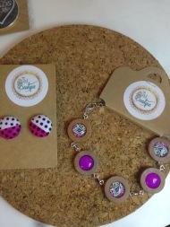 Button earrings £6, bracelet £15