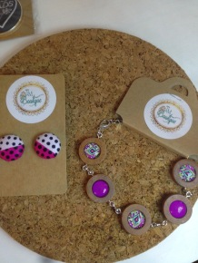Button earrings £6, bracelet £15