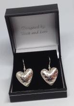 Drop heart silver earrings £25
