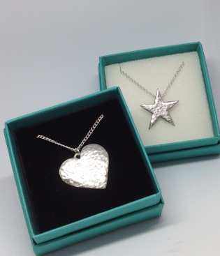 Pewter heart necklace £15.25, Pewter star necklace £15.25