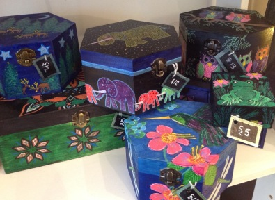 Handprinted wooden boxes form £5