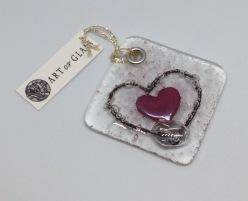 Fused glass heart light catcher £6