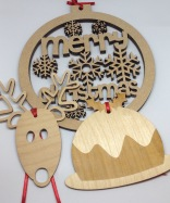 Wooden Christmas decorations from £3.50