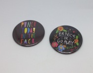 Punch mirror £3, Be nice badge £2