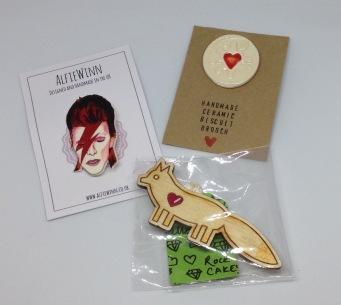 Bowie Badge £4, jammie Dodger badge £5.50, Fox badge £4.50