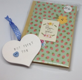Wooden heart £2, notebook £3.50