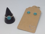 Silver ring £26, silver stud earrings £16