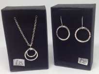 Silver circles necklace £25, silver circles earrings £20