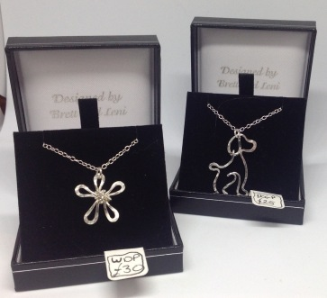 Silver wire daisy necklace £30, Silver wire dog necklace £25