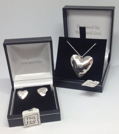 Silver heart studs £25, silver heart necklace £40