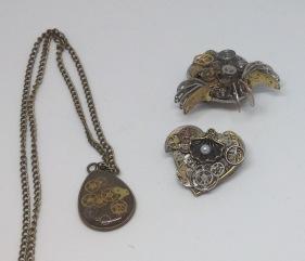 Steampunk pendant £18, steampunk brooches £18