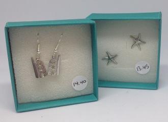 Pewter Tin mine earrings £14.40, pewter starfish studs £12.75