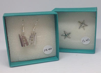 Pewter Tin mine earrings £14.40, pewter starfish studs £12.75