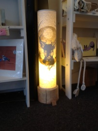Stag lamp with wooden base £90