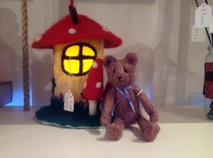 Felted toadstool light £25, bear £15