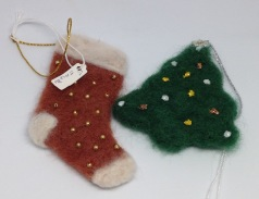 Felted Christmas decorations from £2.50